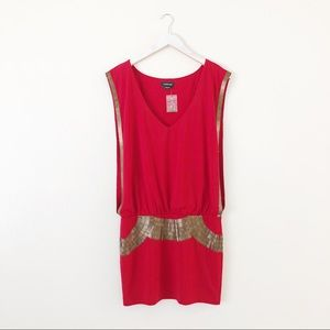 Bebe Armor Beaded High Rick Red Dress
